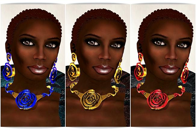 Foil rose necklace earrings