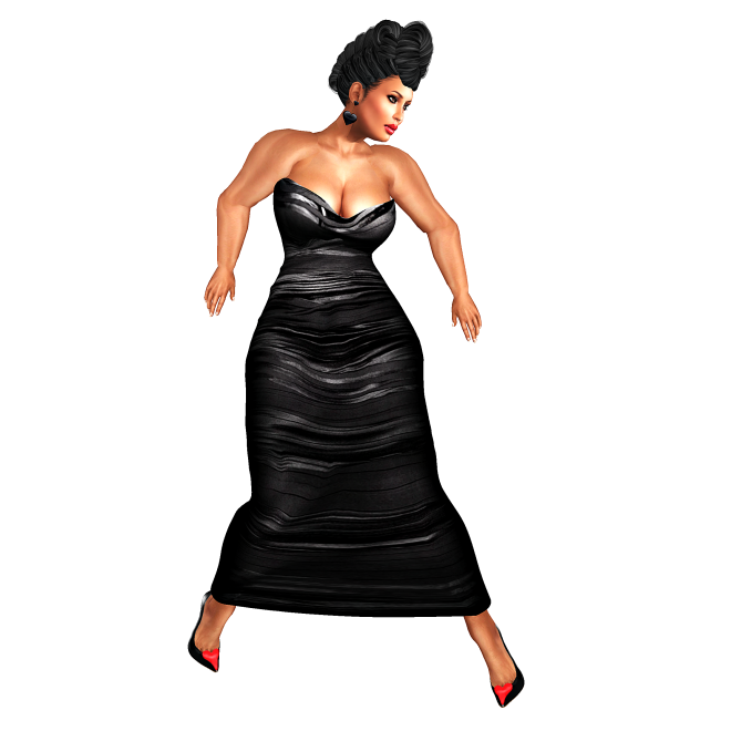 meg black ruched gown_001