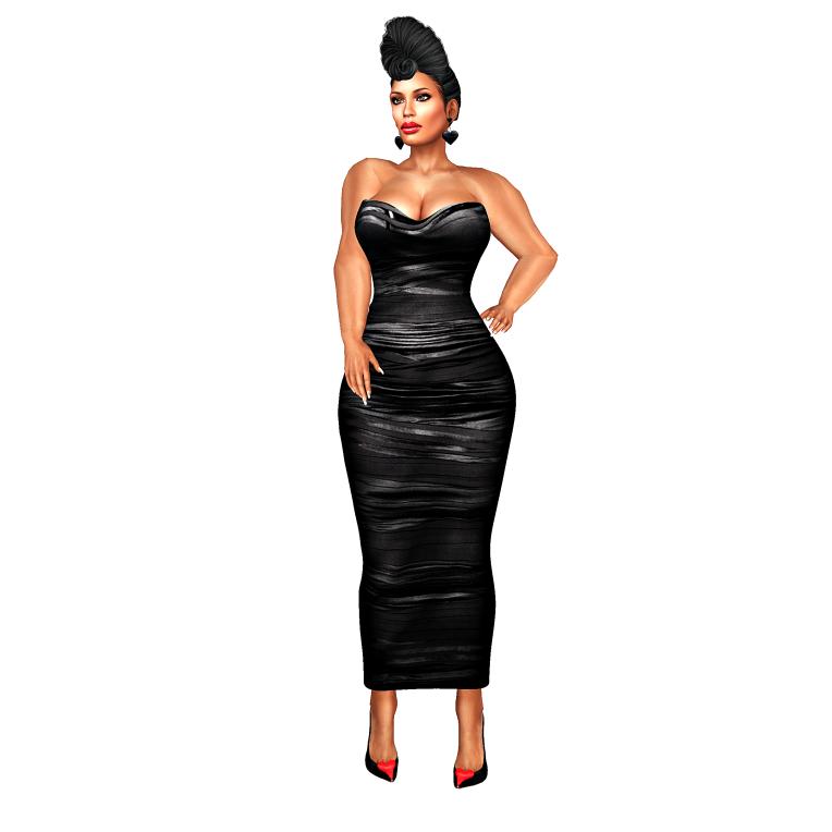 meg black ruched gown_002