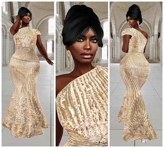 meg gold party gown