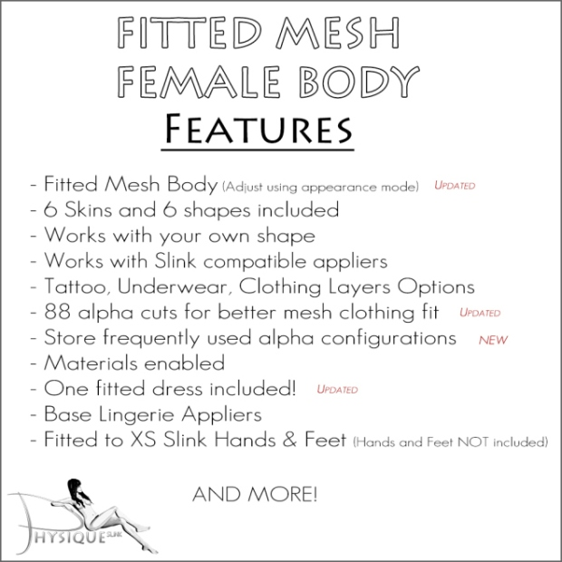 Slink - Physique Fitted Mesh Body - Features